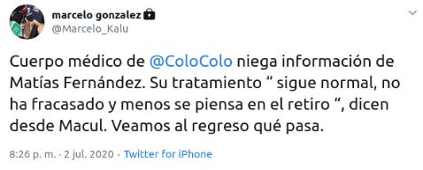 Marcelo González y el reporte del cuerpo médico de Colo Colo